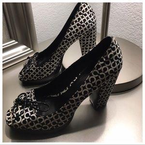 Coach Black & White Printed Open Toe Heels